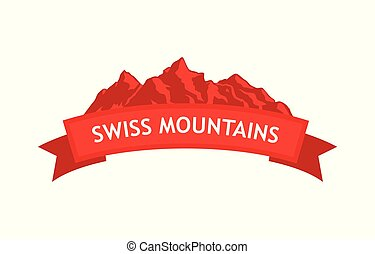 suíço, logotipo, montanhas