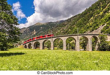 suíço, montanha, trem