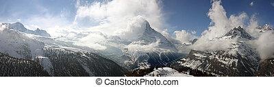 suíço, panorama, alpino