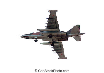 Su-25 is a single-seat, twin-engine jet aircraft.