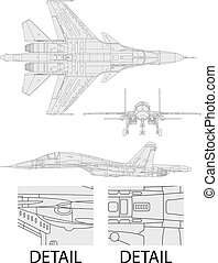 su 34 - High detailed vector illustration of a modern...