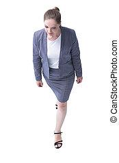 su., affari donna, concept., dall'aspetto, top., vista