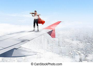 su, ala, di, volare, aeroplano