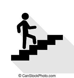 su., appartamento, stile, scale, andare, nero, uggia, uomo, path., icona
