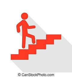su., appartamento, stile, scale, andare, uggia, uomo, path., rosso, icona