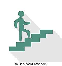 su., appartamento, stile, scale, andare, veridian, uggia, uomo, path., icona