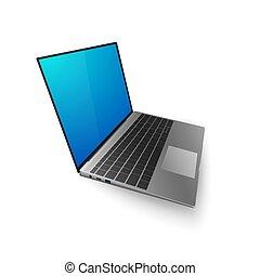 su., banner., laptop, isolato, illustrazione, lei, vettore, disegno, fondo, bkue, schermo, bianco, o, beffare, 3d