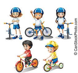 su, bicicletas, niños