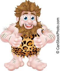 su, caveman, cartone animato, pollici