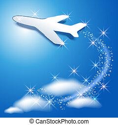 su, cielo, aeroplano, mosca