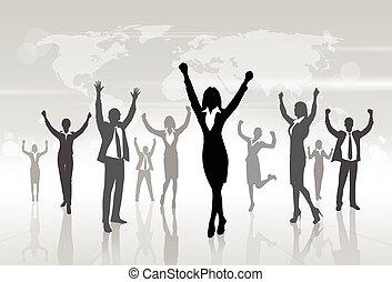 su, concetto, silhouette, persone affari, donna d'affari, vincitore, mani, celebrazione
