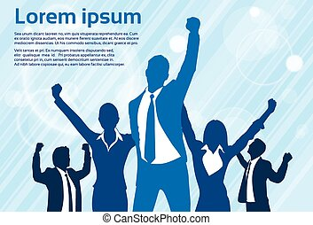 su, concetto, silhouette, persone affari, vincitore, uomini...