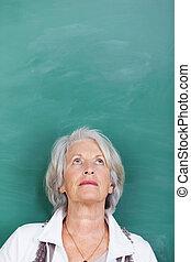 su, contro, classe, dall'aspetto, lavagna, insegnante