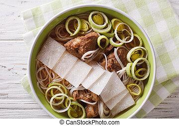 su., costole, manzo, cima, daikon, galbitang, minestra, riso, chiudere, coreano, tagliatelle, orizzontale, vista