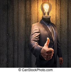 su., creatività, concetto, successo, luce, testa, space., innovazione, instand, pollici, uomo affari, bulbo, copia, ispirazione
