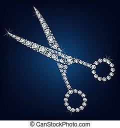 su, diamanti, forbici, fatto, lotto