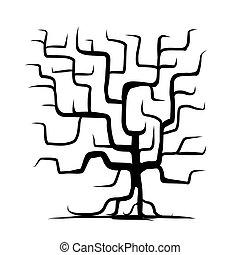 su, diseño, árbol, aislado, tronco