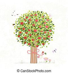 su, diseño, árbol, manzana, arco