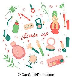 su, disegnato, icona, accessoires, set., visage., illustrazione, pelle, prodotti, vettore, cura, simboli, differente, collezione, fare, bellezza femmina, mano