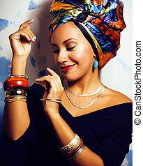 su, donna, come, bellezza, cubian, fare, testa, creativo,...