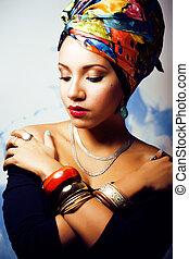 su, donna, come, cubian, fare, testa, creativo, africano,...