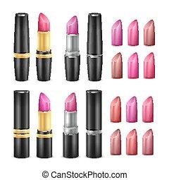 su., donna, rossetto, oro, fare, isolato, illustrazione, realistico, labbra, set, tubes., vector., nero, argento