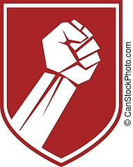 su., elevato, emblema, anticonformista, vettore, pugno serrato, concettuale, rosso
