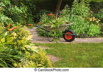 su, estate, pulizia, giardino