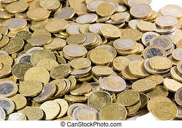 su, euros, mucchio, chiudere, monete