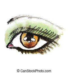 su., fare, mano, acquarello, disegnato, eye.