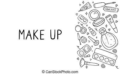 su, femmina, disegnato, pelle, vettore, icona, set., simboli, collezione, prodotti bellezza, accessoires, differente, cura, visage., mano, fare, illustrazione