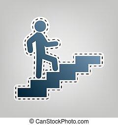 su., grigio, contorno, andare, blu, fondo., taglio, vector., uomo, icona, scale, fuori