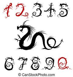 su, hecho, diseño, números, dragones