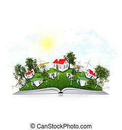 su, il, pagine, di, un, libro, è, erba, albero, e, case