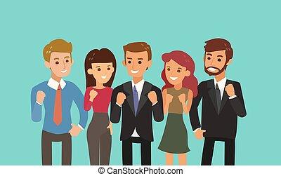 su, illustration., concetto, cartone animato, pugno, affiatamento, squadra, felice, gesture., lavoro squadra, affari