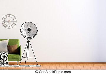 su., illustration., parete, lamp., moderno, divano, interno, beffare, 3d