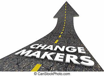 su, illustrazione, miglioramento, strada, freccia, innovazione, creatori, cambiamento, 3d