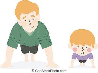 su, illustrazione, ragazzo, padre, spinta, capretto