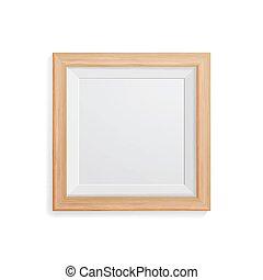 su., immagine, quadrato, vector., cornice, parete, cornice foto, vuoto, luce, realistico, legno, disegno, sagoma, appendere, bianco, beffare, front.