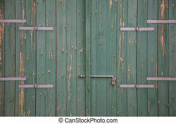 su, invecchiato, padlock., porta legno, arrugginito, verde, dettagli, chiudere, chiavistello