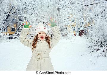 su, inverno, mano, park., ridere, ragazza, felice