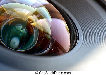 su, lavoro, uomo, macro, chiudere, fotografo, vista., concetto, o, macchina fotografica foto, lente
