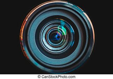 su, lente, macchina fotografica, sfondo nero, chiudere