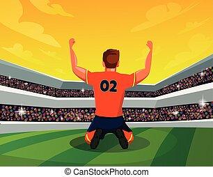 su., leva piedi, fans., esposizione, vista, luce, vincente, giocatore, vettore, illustrazione, stadio, mano, calcio, retro, concept:, celebrazione