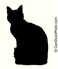 su, lindo, silueta, sitting., sticker., blanco, gato de kitty, fondo., negro, iillustration, sombra, elemento, diseño, impresión