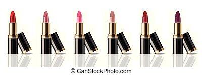 su., mascherine, prodotto, set, rossetto, colorito, realistic., collezione, imballaggio, vettore, beffare