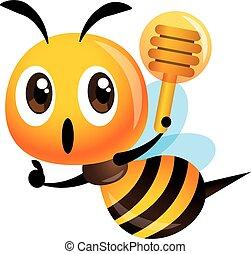 su, mestolo, segno, carino, mano, ape, miele, pollice, vettore, presa a terra, -