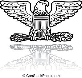 su, militar, águia, insignia