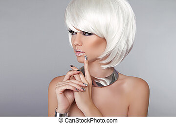 su., moda, hairstyle., bellezza, grigio, fare, taglio capelli, isolato, makeup., corto, fondo., donna, portrait., biondo, hair., elegante, bianco, voga, style., girl.