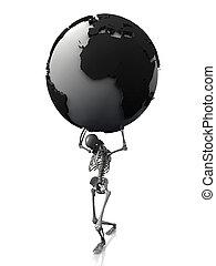 su, mondo, scheletro, morto, presa a terra
